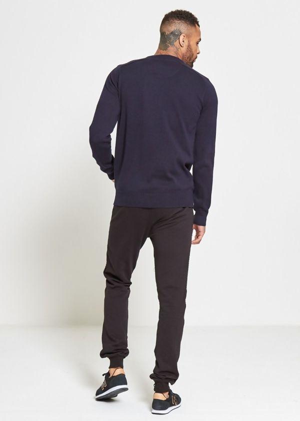 Navy Flap Pocket Fine Knit Jumper