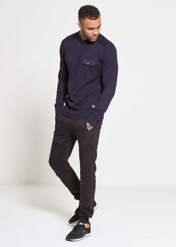 Navy Flap Pocket Fine Knit Jumper