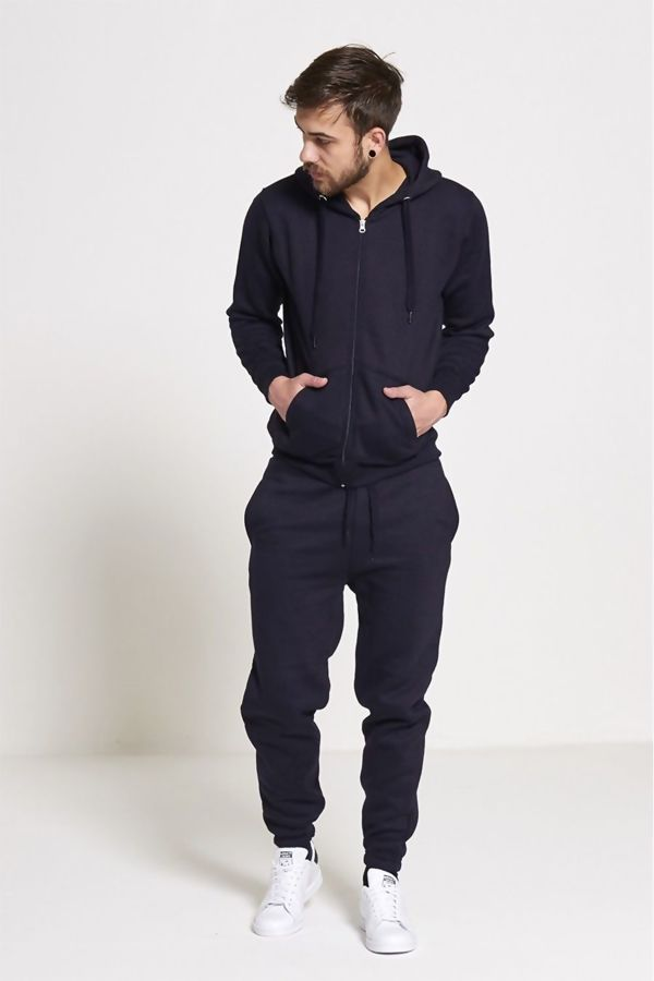 Navy Fleece Jogging Pockets Bottoms Plain Tracksuit