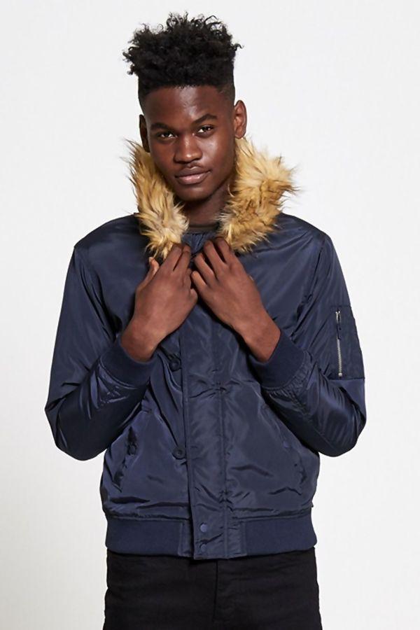 Navy Fleece Lined Fur Hood Bomber Jacket