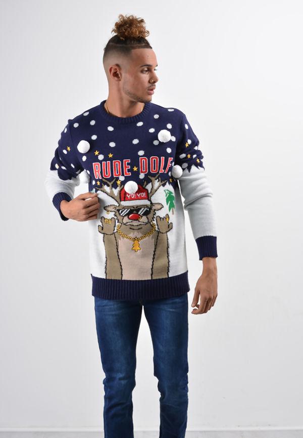 Navy Gangsta Rude Dolf Christmas Jumper