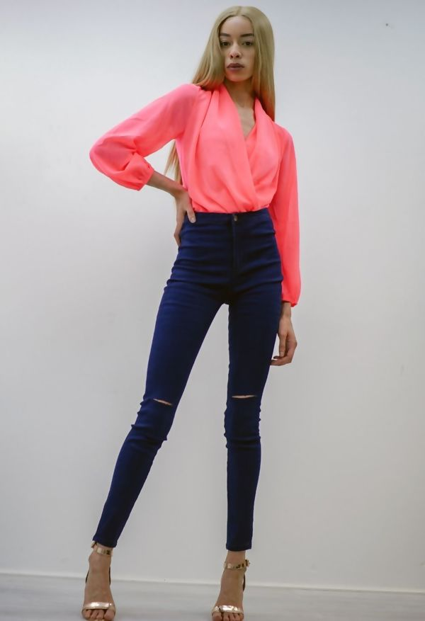 Navy High Waist Knee Ripped Skinny Jeans