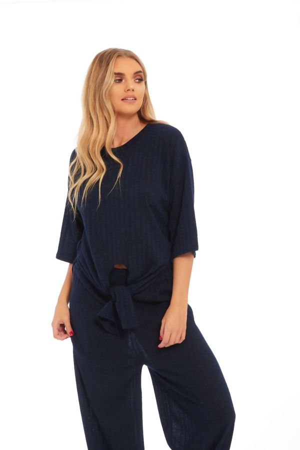 Navy Key Knot Wide Leg Trouser Co-Ord Set