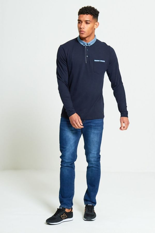 Navy Long Sleeve Welt Polo T-Shirt