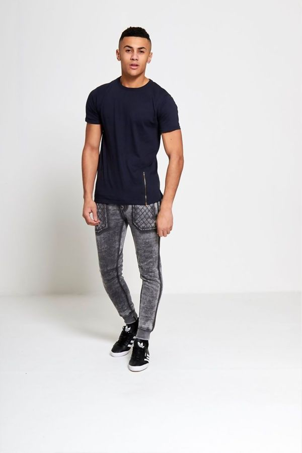 Navy Longline Zipper T-Shirt