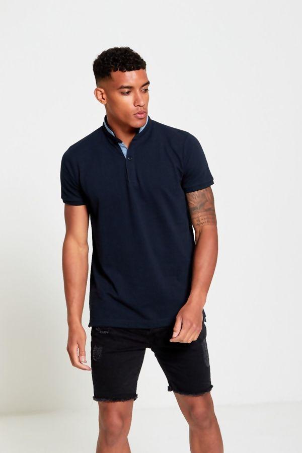 Navy Mandarin Polo T-Shirt