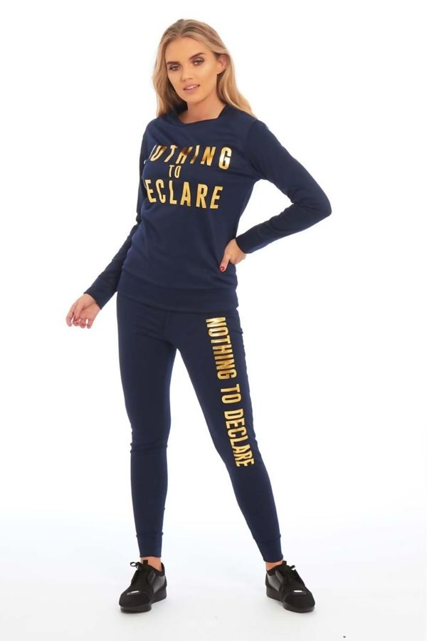 Navy Nothing To Declare Customized Tracksuit