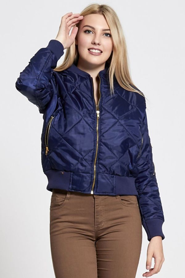 Navy Olivia Quilted Bomber Jacket