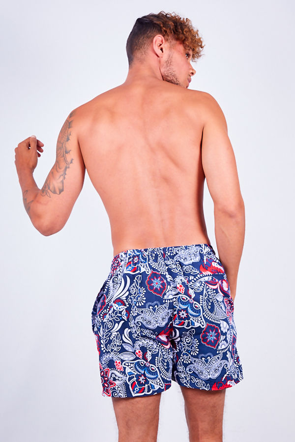 Navy Paisley Printed Swim Shorts