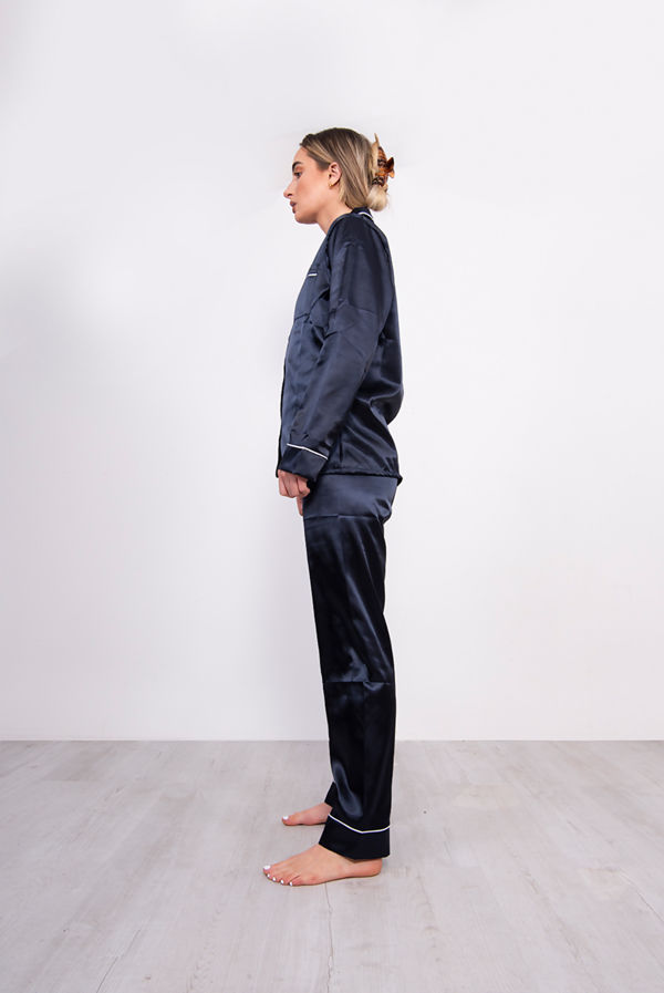 Navy Piping Detail Long Sleeve Satin PJ Set