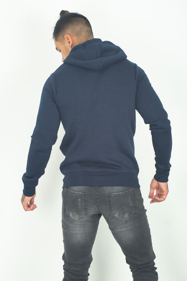 Navy Plain American Fleece Zip Up Hoody Jacket-