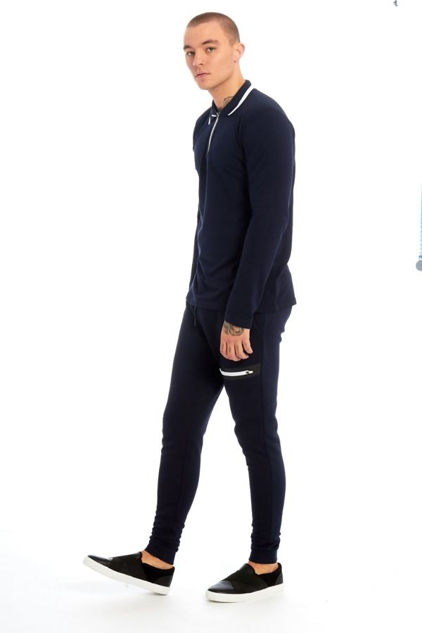 Navy Polo Long Sleeve Skinny Fit Tracksuit