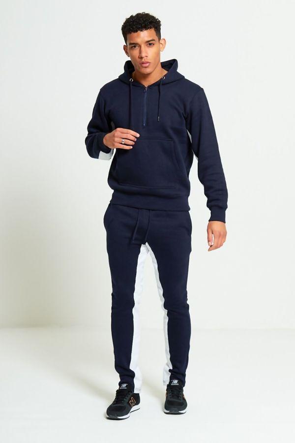 Navy Polyester Stripe Skinny Slim Fit Tracksuit