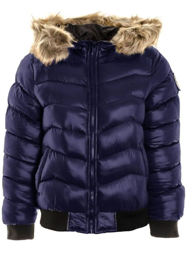 Navy Quilted Badge Puffer Hood Bomber Jacket
