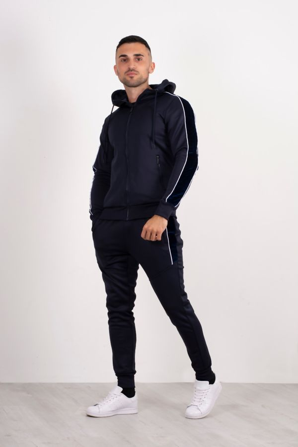 Navy Quilted Velvet Stripe Detail Muscle Fit Tracksuit