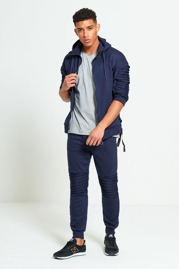 Navy Ribbed 3/4 Sleeve Skinny Tracksuit