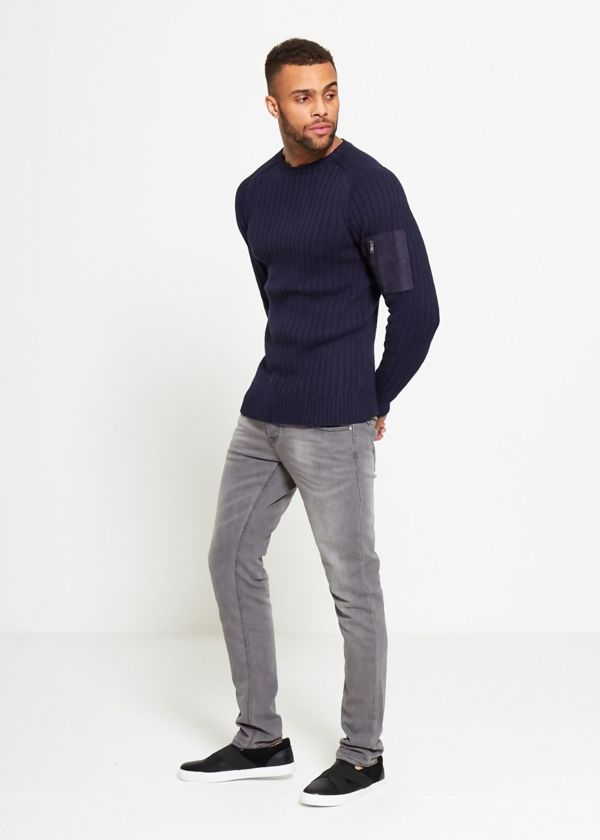 Navy Ribbed Shoulder Pocket Crew Jumper
