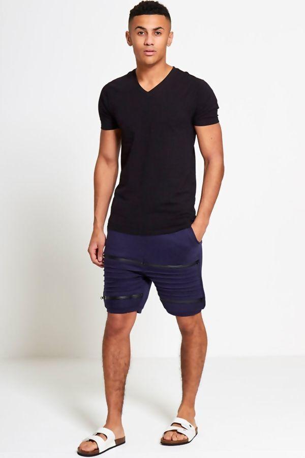 Black Ribbed Sweat Shorts