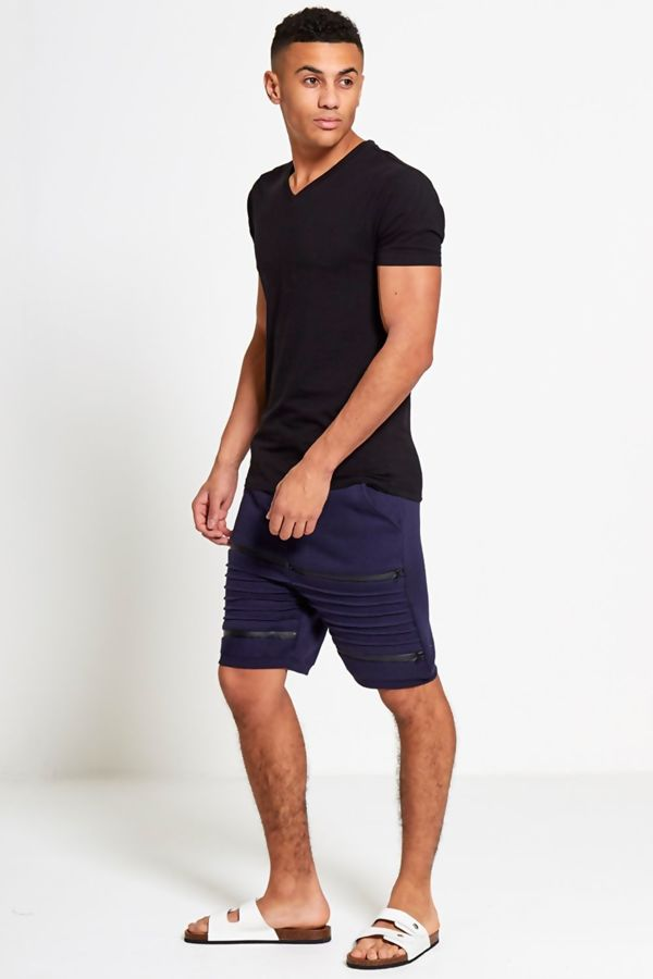 Navy Ribbed Sweat Shorts