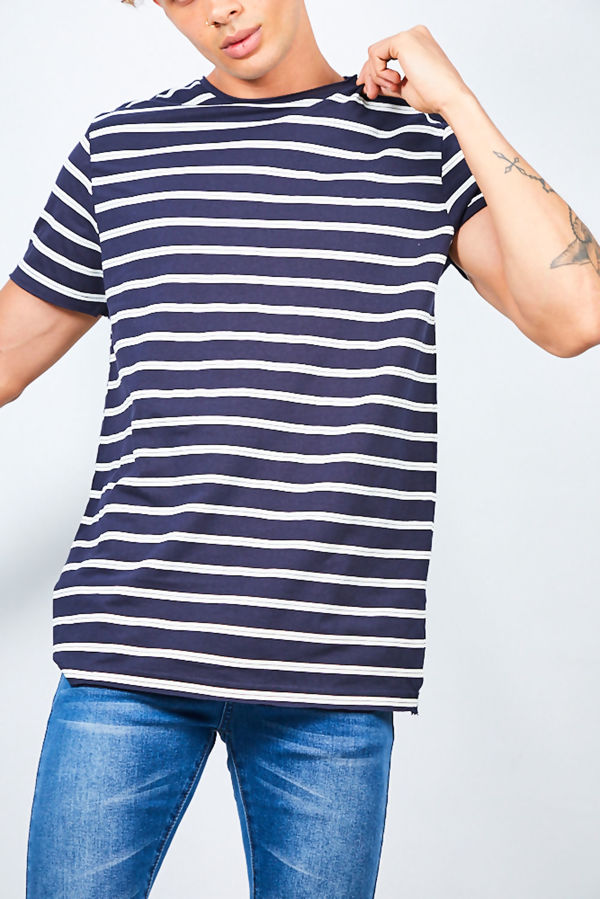 Navy Rolled Detail Striped Crew Neck T-Shirt