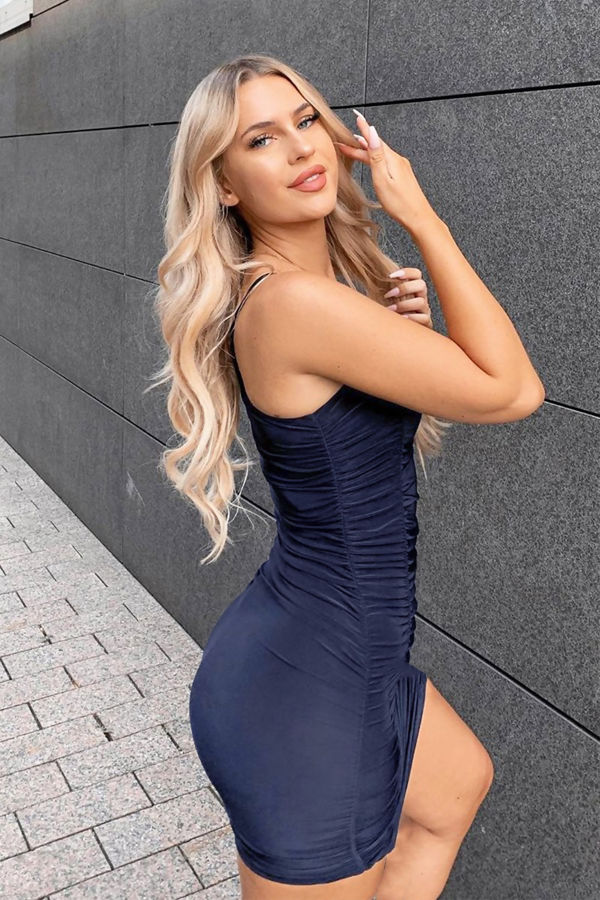 Navy Ruched Double Layer Slinky Cami Dress