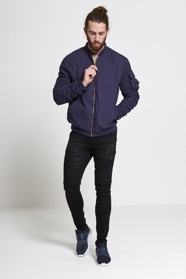 Navy Ruched Sleeve Bomber Jacket