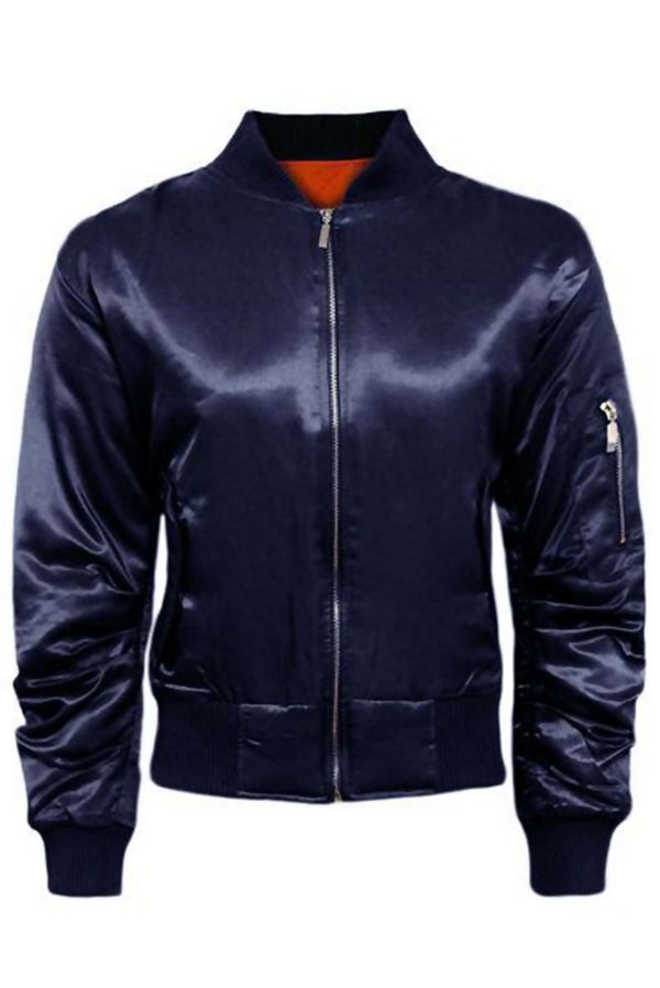 Navy Satin MA1 Bomber Biker Jacket
