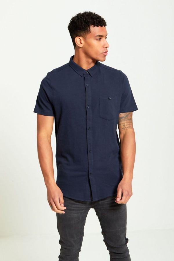 Navy Short Sleeve Round Hem Cotton Shirt
