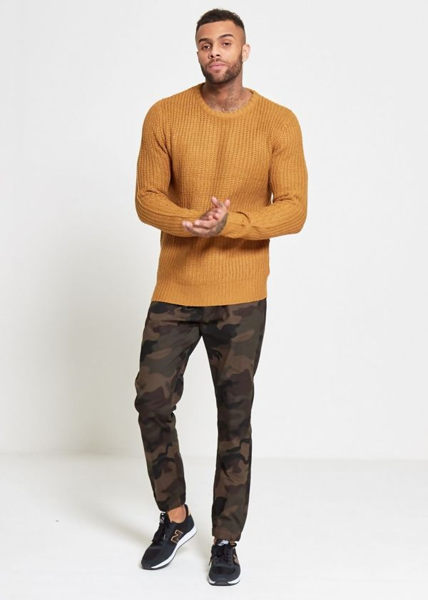 Navy Soft To Touch Cable Knit Jumper