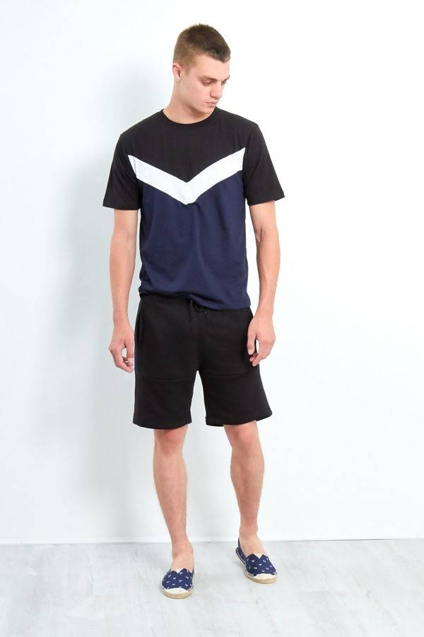 Navy Spliced Panel T-Shirt and Short Set