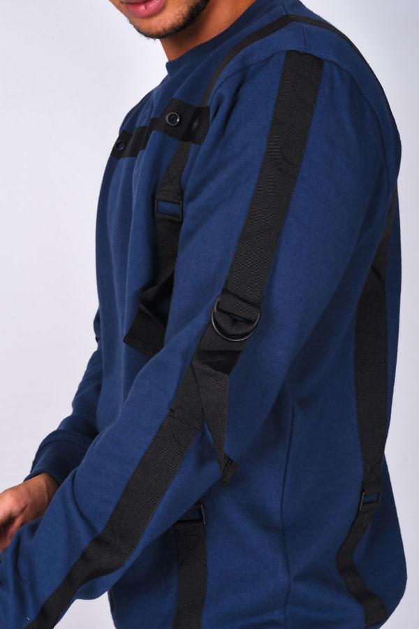 Navy Strap Detail Crew Neck Sweatshirt