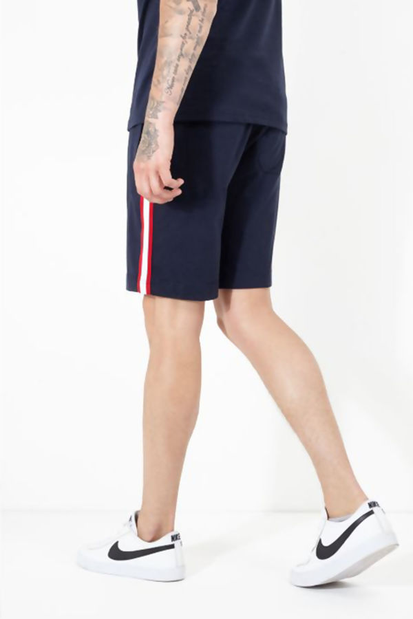 Navy Stripe Detail Jersey Shorts