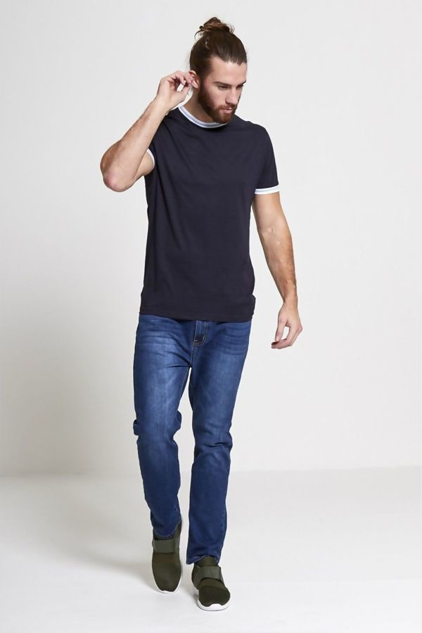 Navy Striped Contrast T-Shirt