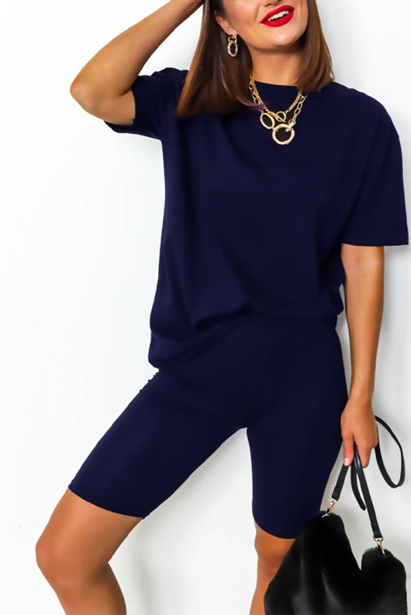 Navy T-shirt and Cycling Shorts Set