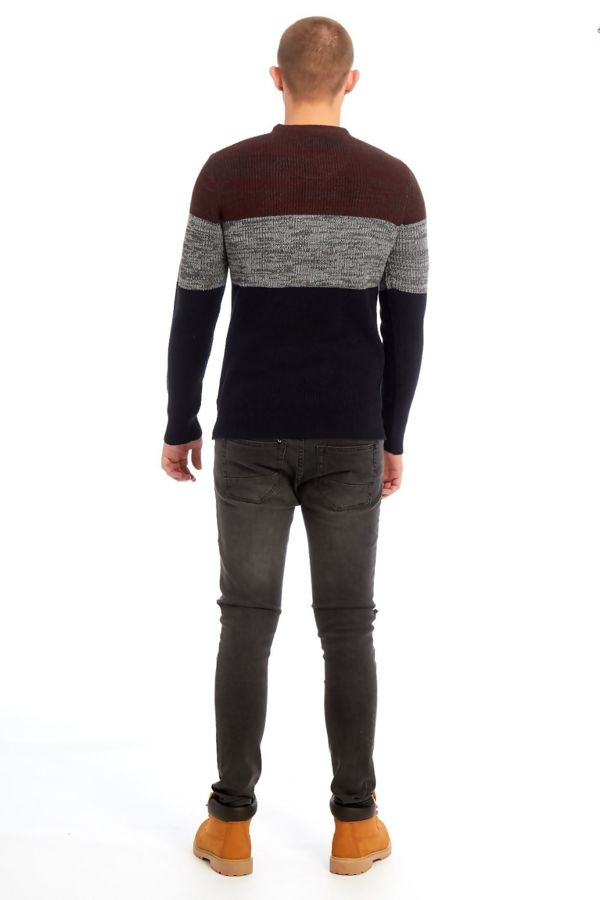 Navy Two-Tone Knitted Jumper