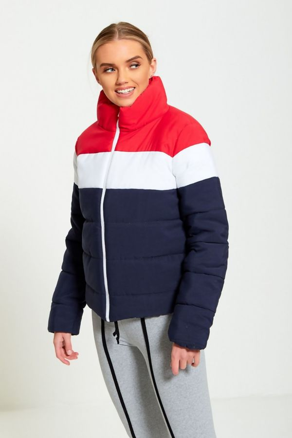 Navy Two-Tone Panel Puffer Bomber Jacket