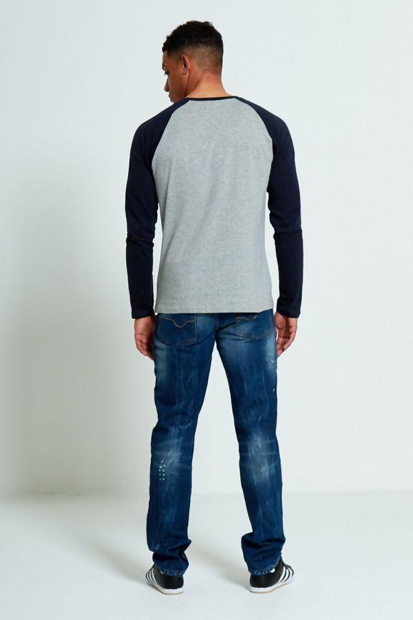 Navy Two-Tone Raglan Long Sleeve T-Shirt