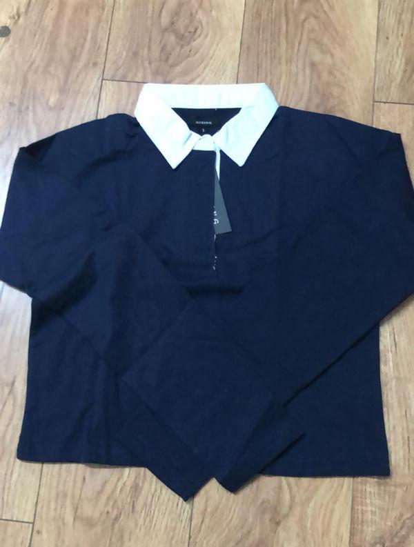 Navy White Collar Polo Crop Top