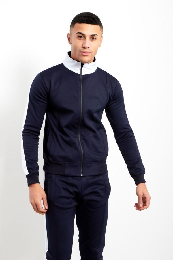 Navy White Tape Funnel Skinny Fit Tracksuit