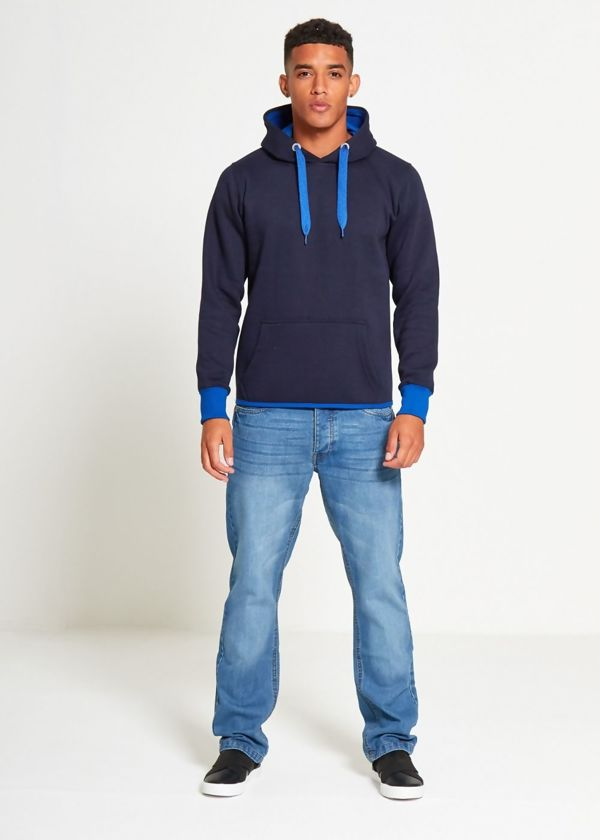 Navy With Blue Contrast Pullover Hoodies