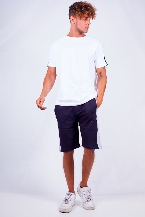 Navy With Grey Contrast Jersey Shorts