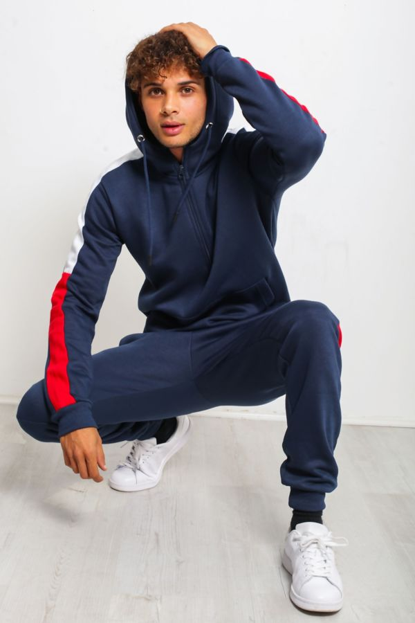 Navy With Red And White Stripe Tracksuit