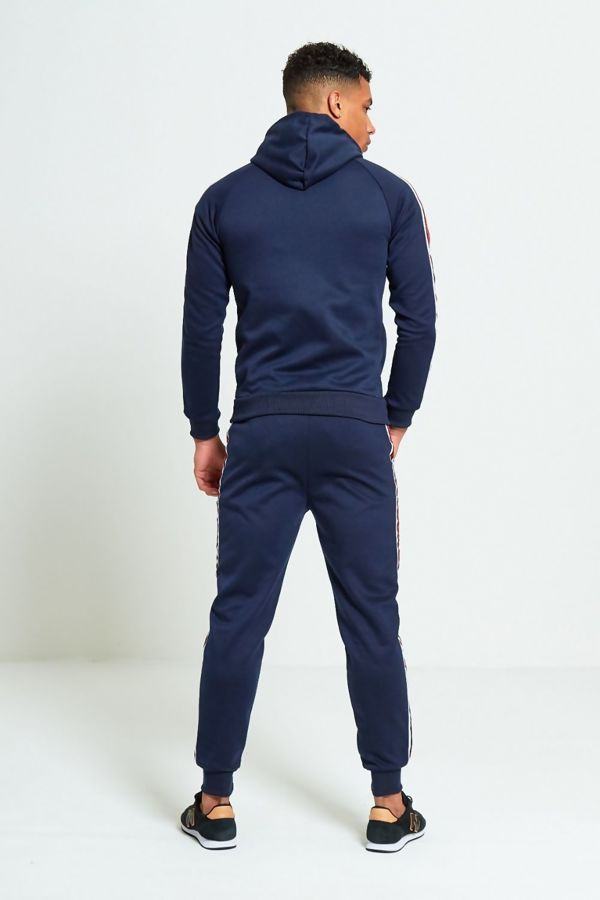 Navy With White Red Stripe Skinny Fit Tracksuit