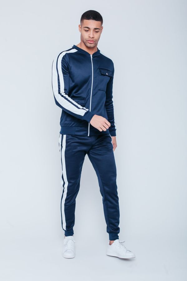 Navy with White Tape Zip Up Tracksuit