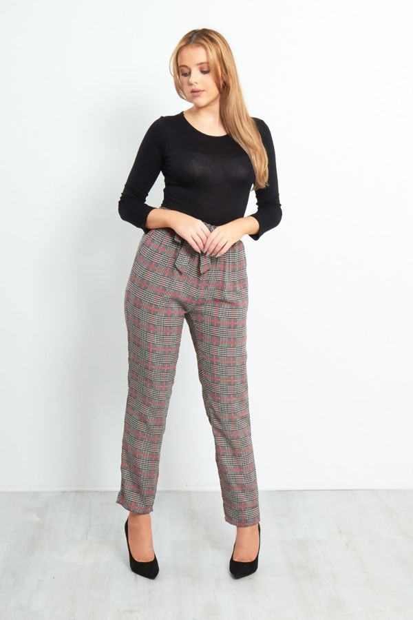Navy With Yellow Checked Frill Tie Trouser