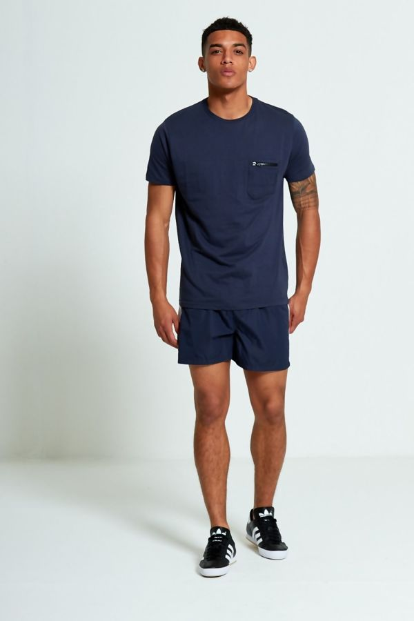 Navy Zip Detail Chest Pocket T-Shirt