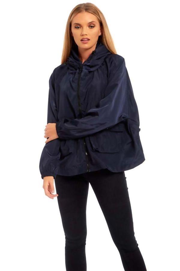 Navy Zip Through Crop Cagoule Jacket