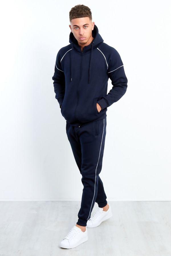 Navy Zip Through Hooded Tracksuit Preorder