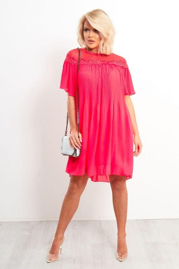 Neon Coral Lace Trim Trapeze Dress