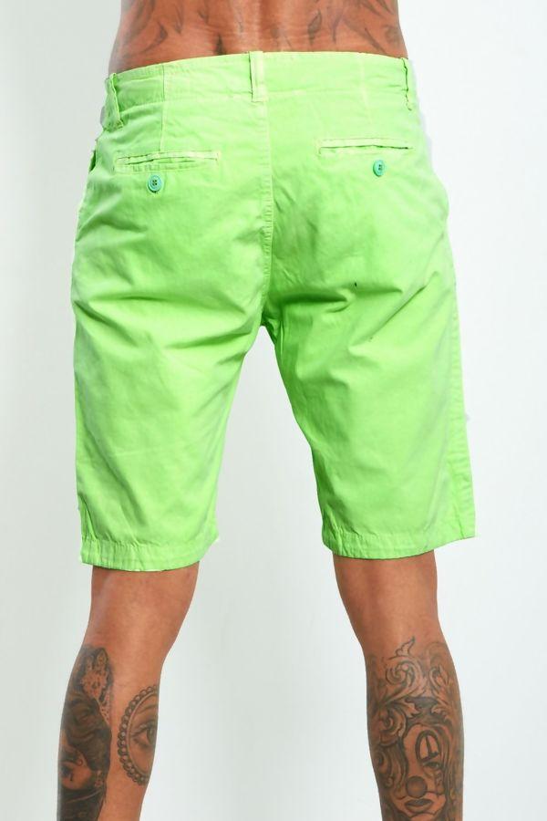 Neon Green Twill Chino Shorts